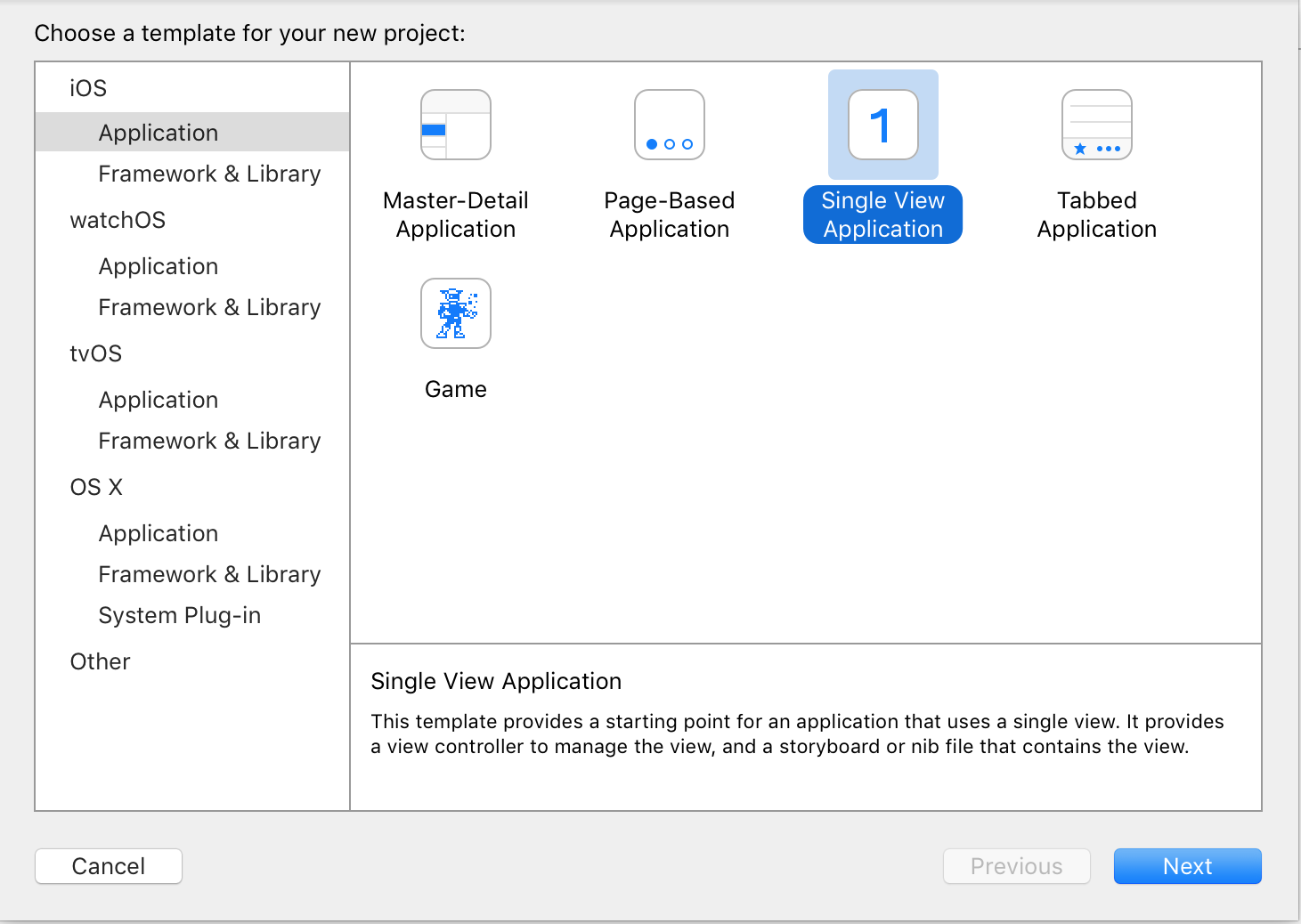 new Xcode project Master detail